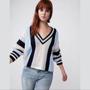 Express Blue Gray Vneck Striped Sweater